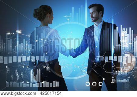 Concept Of Partnership. Businessman And Businesswoman Handshake Over Forex Chart And Night Singapore