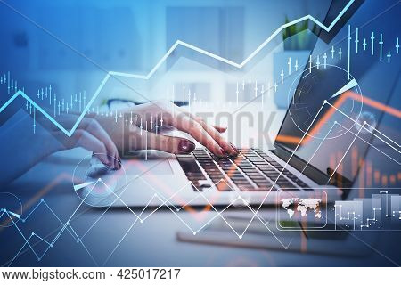 Businesswoman Hands Or Stock Trader Analyzing Stock Graph Chart By Using Laptop To Buy Or Sell Stock