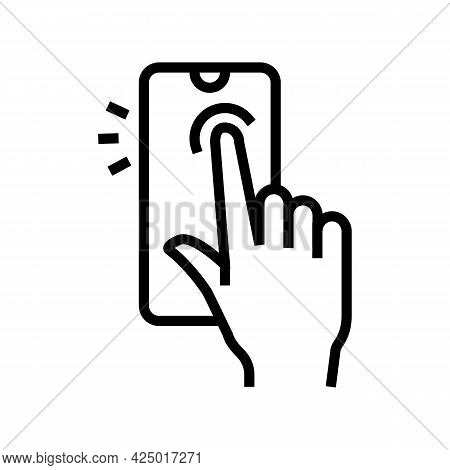 Tapping With Finger Smartphone Screen Line Icon Vector. Tapping With Finger Smartphone Screen Sign.