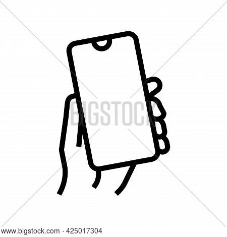 Smartphone Gadget In Hand Line Icon Vector. Smartphone Gadget In Hand Sign. Isolated Contour Symbol