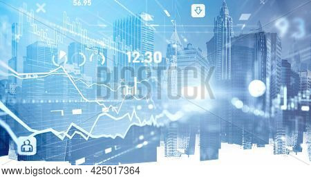 Financial Charts And Quotes Over Panoramic New York City View. The Concept Of International Consulti