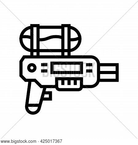 Water Gun For Summer Game Line Icon Vector. Water Gun For Summer Game Sign. Isolated Contour Symbol