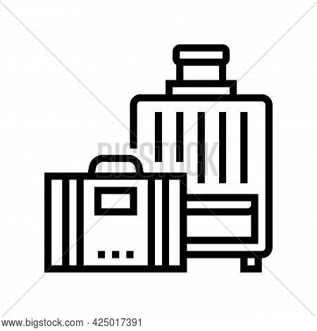 Luggage For Summer Travel Vacation Line Icon Vector. Luggage For Summer Travel Vacation Sign. Isolat