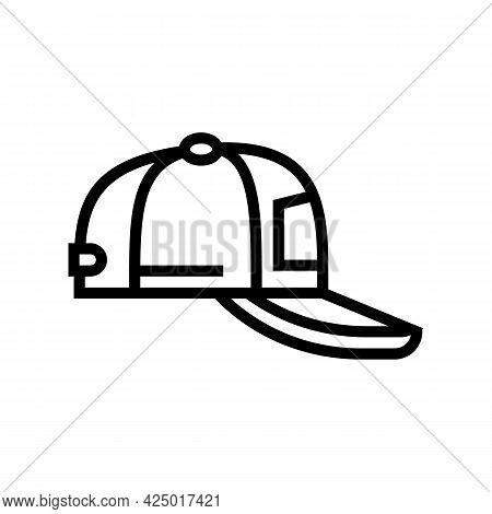 Cap Summer Line Icon Vector. Cap Summer Sign. Isolated Contour Symbol Black Illustration