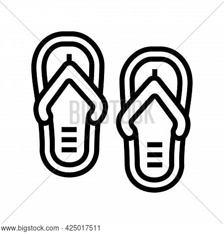 Slippers Summer Shoes Line Icon Vector. Slippers Summer Shoes Sign. Isolated Contour Symbol Black Il