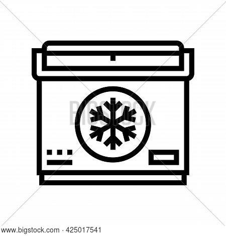 Portable Refrigerator Line Icon Vector. Portable Refrigerator Sign. Isolated Contour Symbol Black Il