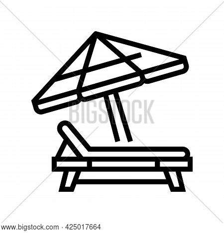 Deck Chair With Umbrella Line Icon Vector. Deck Chair With Umbrella Sign. Isolated Contour Symbol Bl