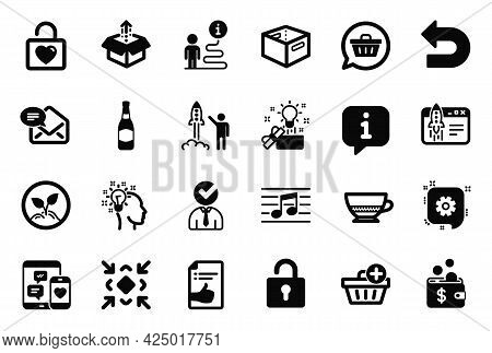 Vector Set Of Simple Icons Related To Shopping Cart, Lock And Musical Note Icons. Minimize, Launch P