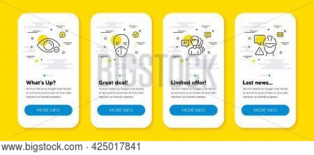 Vector Set Of Myopia, Medical Mask And People Line Icons Set. Ui Phone App Screens With Line Icons.