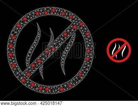 Glossy Mesh Vector Stop Vapour With Glare Effect. White Mesh, Glare Spots On A Black Background With