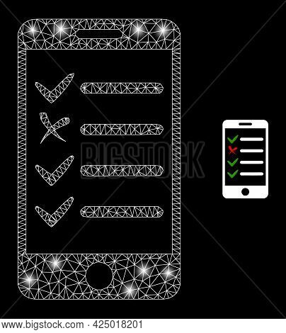 Magic Mesh Vector Mobile Check List With Glare Effect. White Mesh, Glare Spots On A Black Background