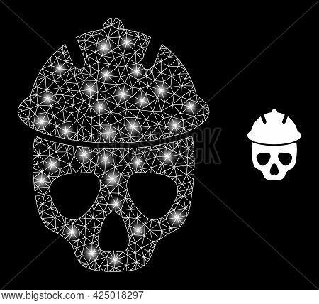 Glossy Mesh Vector Safety Helmet Skull With Glare Effect. White Mesh, Flash Spots On A Black Backgro