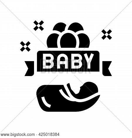 Baby Born Celebration Balloons Glyph Icon Vector. Baby Born Celebration Balloons Sign. Isolated Cont