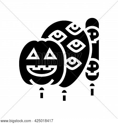 Halloween Party Balloons Decoration Glyph Icon Vector. Halloween Party Balloons Decoration Sign. Iso