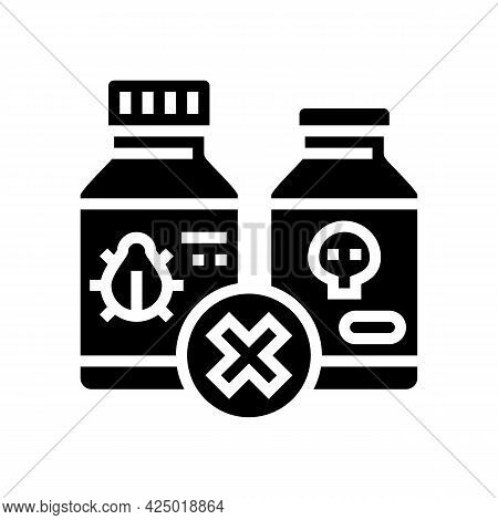 Poison Prohibition For Safe Children Glyph Icon Vector. Poison Prohibition For Safe Children Sign. I