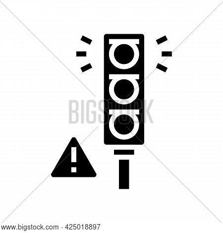 Prohibition Traffic Light For Safe Children Glyph Icon Vector. Prohibition Traffic Light For Safe Ch