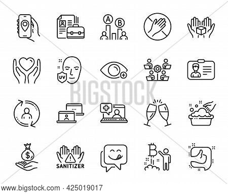 Vector Set Of Medical Help, Hold Box And Identification Card Line Icons Set. Ab Testing, Vacancy And