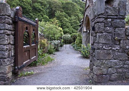 Entrance to antique church