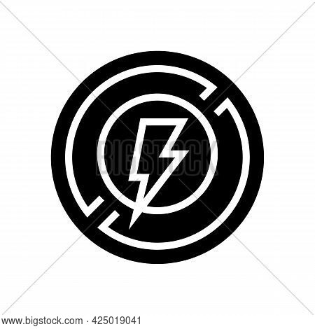 Lightning Prohibition Sign Glyph Icon Vector. Lightning Prohibition Sign Sign. Isolated Contour Symb