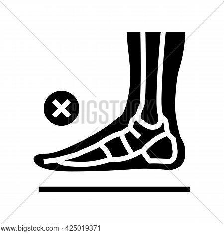 Bone Flat Feet Glyph Icon Vector. Bone Flat Feet Sign. Isolated Contour Symbol Black Illustration