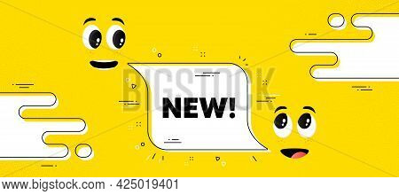 New Text. Cartoon Face Chat Bubble Background. Special Offer Sign. New Arrival Symbol. Arrivals Chat