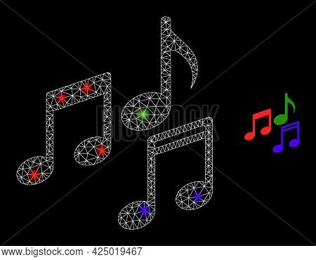 Bright Mesh Vector Melody Notes With Glare Effect. White Mesh, Glare Spots On A Black Background Wit