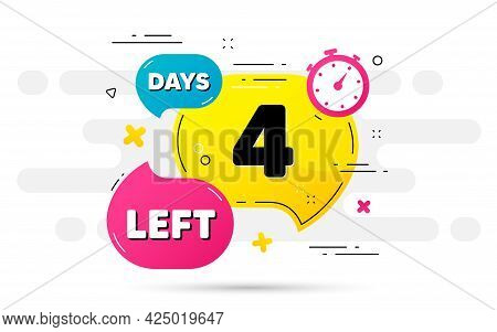 Four Days Left Icon. Countdown Number On Abstract Flow Pattern. 4 Days To Go Sign. Count Offer Date