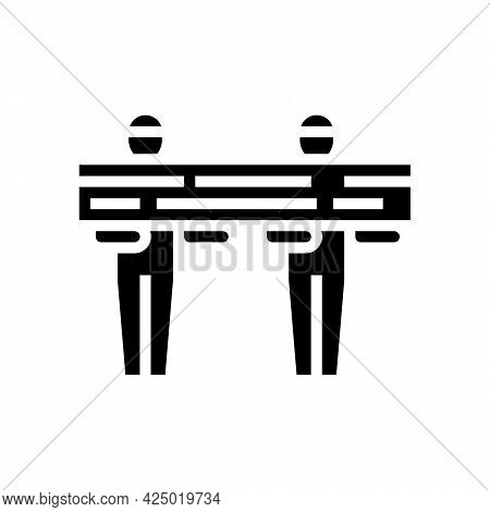Worker Carrying Wooden Timber Glyph Icon Vector. Worker Carrying Wooden Timber Sign. Isolated Contou