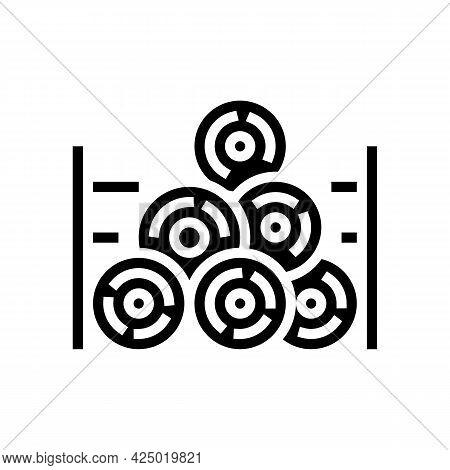 Wooden Timber Storage Glyph Icon Vector. Wooden Timber Storage Sign. Isolated Contour Symbol Black I