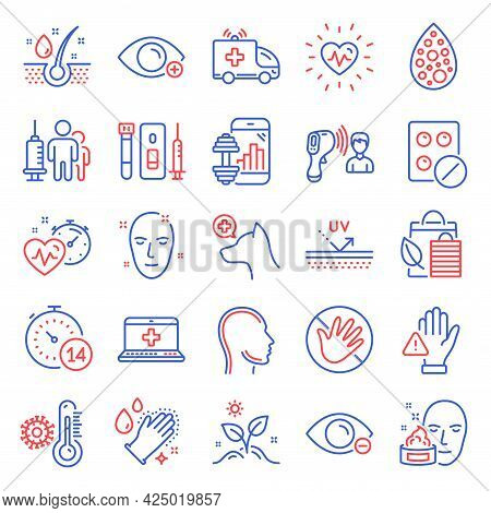 Healthcare Icons Set. Included Icon As Uv Protection, Face Cream, Quarantine Signs. Bio Shopping, He