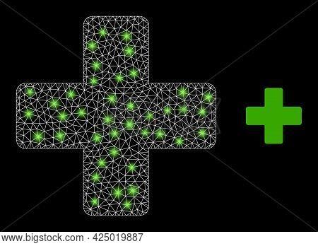 Magic Mesh Vector Veterinary Cross With Glare Effect. White Mesh, Glare Spots On A Black Background