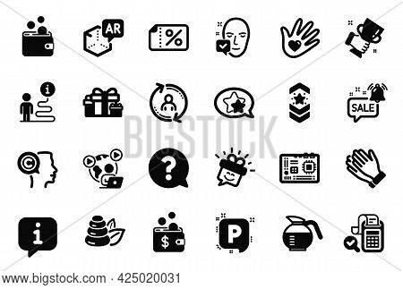Vector Set Of Business Icons Related To Shoulder Strap, Augmented Reality And Question Mark Icons. C