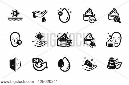 Vector Set Of Sun Cream, Skin Care And Uv Protection Icons Simple Set. Problem Skin, Wash Hands And