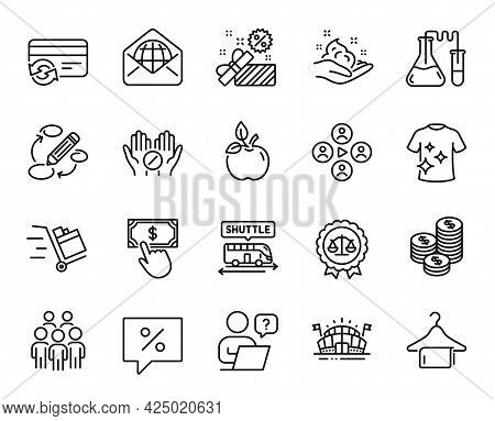 Vector Set Of Group People, Coins And Chemistry Lab Line Icons Set. Online Question, Discount Messag