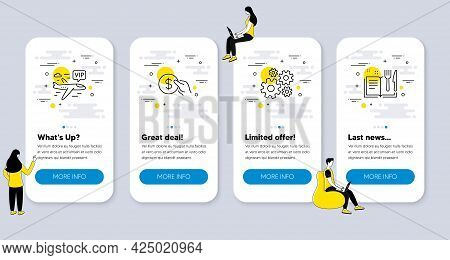 Set Of Line Icons, Such As Cogwheel, Vip Flight, Payment Icons. Ui Phone App Screens With People. Re