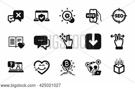 Vector Set Of Seo, Laptop Insurance And Online Voting Icons Simple Set. Faq, Message And Move Gestur