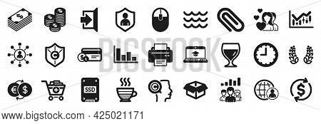 Set Of Simple Icons, Such As Payment Method, Opened Box, Teamwork Results Icons. Wine Glass, Copyrig