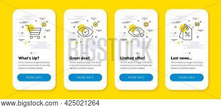 Vector Set Of Myopia, Market Sale And Biometric Eye Line Icons Set. Ui Phone App Screens With Line I