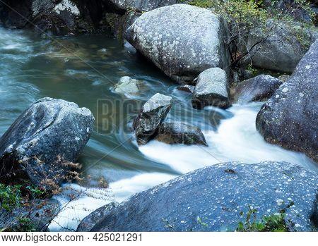 Water Cascading On Arakawa River In Scenic Shosenkyo Gorge - Kofu, Yamanashi Prefecture, Japan