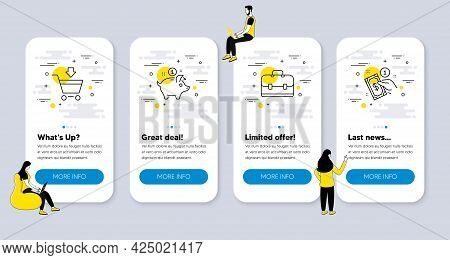 Vector Set Of Finance Icons Related To Saving Money, Portfolio And Online Market Icons. Ui Phone App
