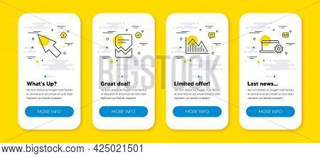 Vector Set Of Mouse Cursor, Investment Graph And Corrupted File Line Icons Set. Ui Phone App Screens