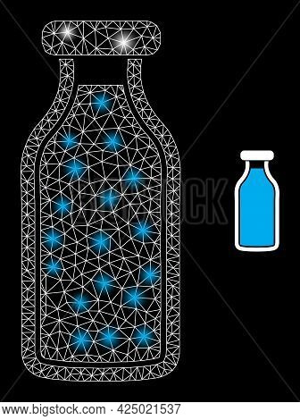 Bright Mesh Vector Milk Bottle With Glare Effect. White Mesh, Bright Spots On A Black Background Wit