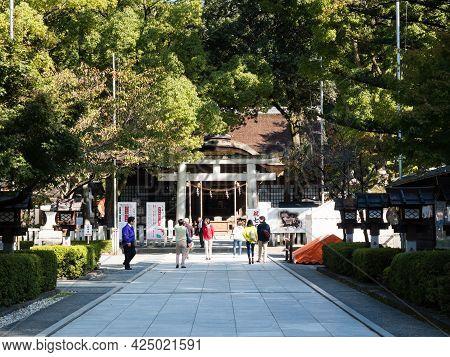 Kofu, Yamanashi Prefecture, Japan - October 26, 2017: Visitors On The Grounds Of Takeda Shrine