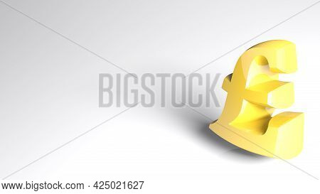 Yellow English Pound Currency Symbol On White Background - 3d Rendering Illustration