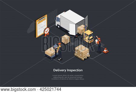 Cartoon Style 3d Illustration On Dark Background With Objects And Characters. Conceptual Isometric V