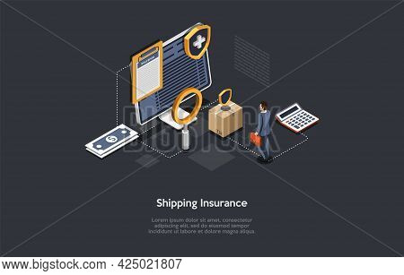 Safe Shipping Insurance, Product Quality Guarantee Concept Vector Illustration With Writing. Isometr