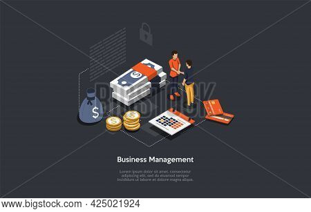 Vector Composition. Cartoon 3d Style Design With Infographics. Conceptual Isometric Illustration. Bu