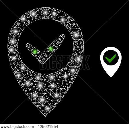 Magic Mesh Vector Right Place With Glare Effect. White Mesh, Glare Spots On A Black Background With