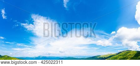 Fluffy Clouds On The Blue Sky In Afternoon. Beautiful Nature Background. Panoramic View