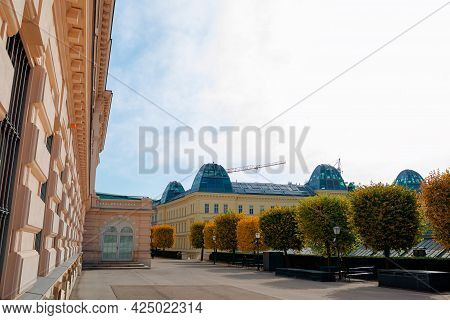 Vienna, Austria - Oct 17, 2019: Terrace On The Backside Of Albertina Museum Building. Cafe And Resta